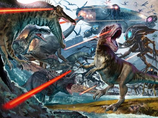 Image result for dinosaurs vs aliens